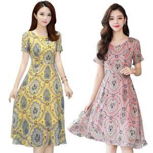 Elegant-Floral-Print-Dress-Women-Summer-O-neck-Short-Sleeve-Midi-Dresses