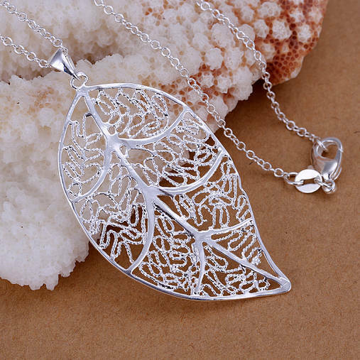 Wholesale solid silver Leaf pendant necklace fashion jewelry for Xmas gift HN09