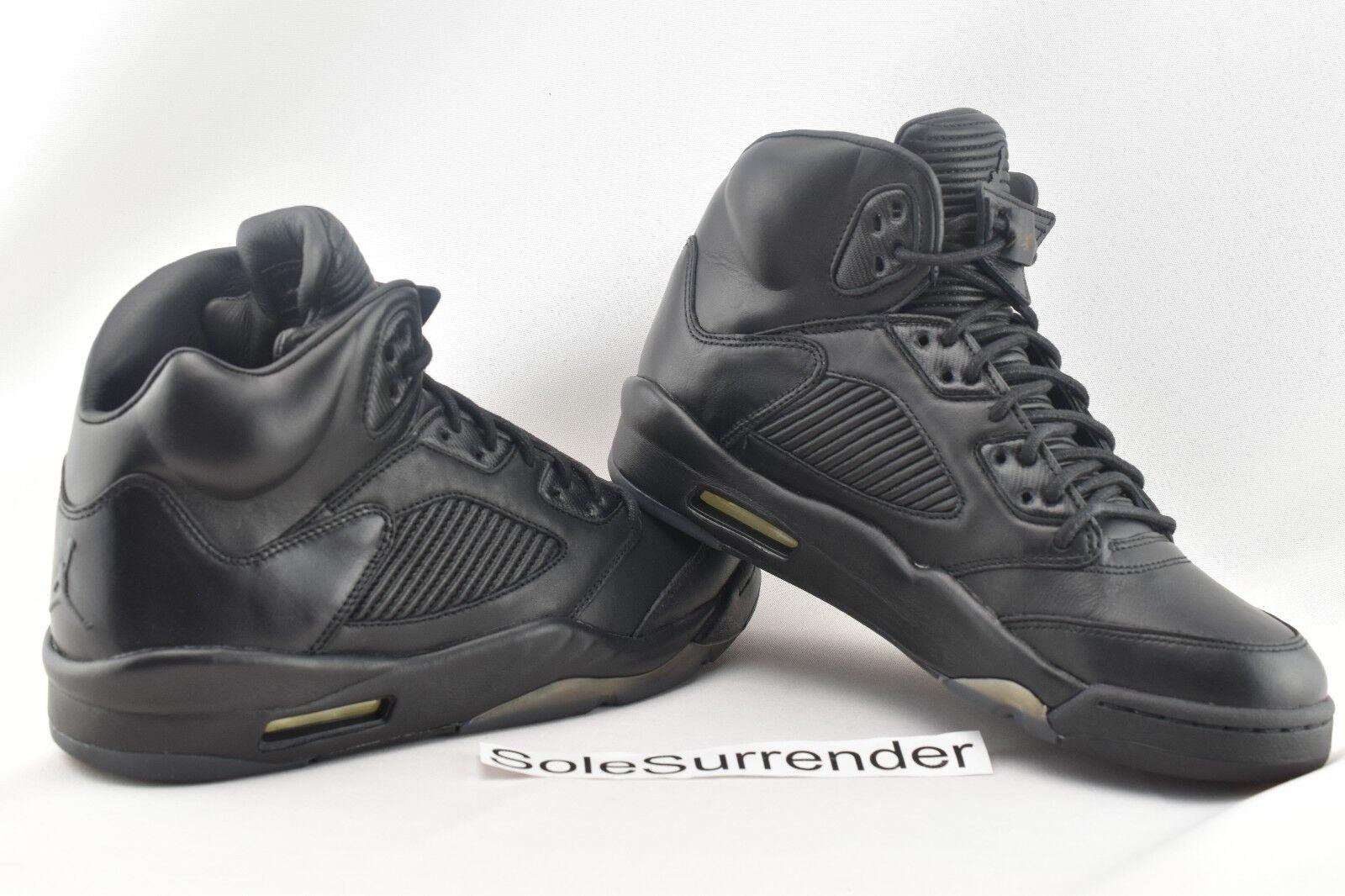 Nike Air Jordan 5 Retro Prem V Premium Pinnacle Triple Black Men ... d6d79cfec