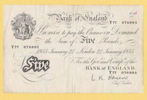 1955 WHITE FIVER BANK OF ENGLAND OBRIEN GENUINE £5 BANKNOTE Y77 076895