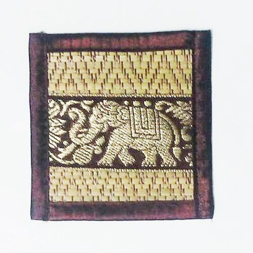 Sous-verres Bar tapis table à bière Thai salle à manger Elephant soie Reed Coaster Set 6 de rouge