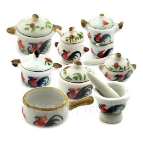 Dolls House gallo in ceramica 8 pezzi SET DI COTTURA E SERVIRE