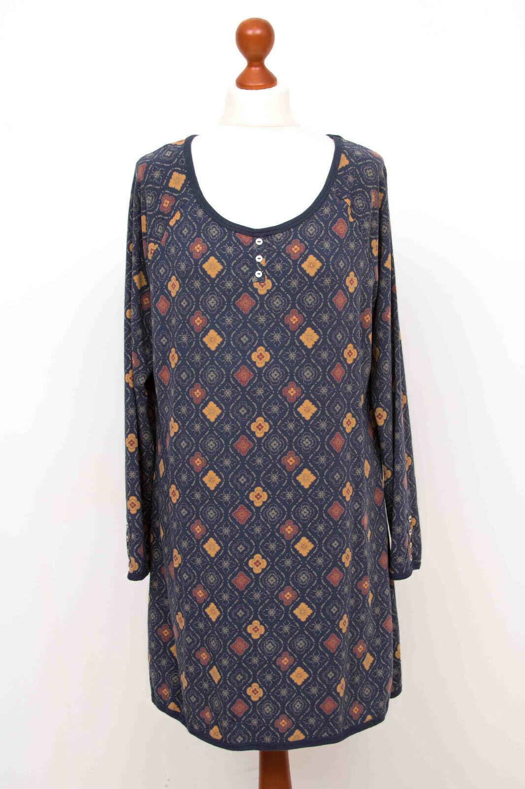 DEERBERG Blau Blumen Baumwolle & Modal Langarm Kleid Dress Gr. L