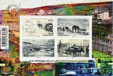 SAINT Pierre e Miquelon sp&m 2015 MNH cavallo disegnato carrozze in vecchi tempi 4V M / S
