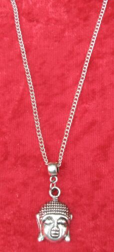 "Buddha Head Pendant Necklace 18/"" or 24 Inch Chain Buddhism Buddhist Charm"