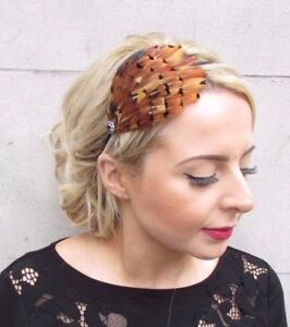Image is loading Brown-Black-Pheasant-Feather-Fascinator-Headband -Races-Hair- a45bc1703a5