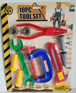 10-Piece-Kids-Tool-Set-Pliers-Wrench-Clamp-Nuts-and-Bolts-Box-Knife-Plastic