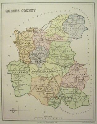 Irish Map QUEENS COUNTY Laois Laoix Baronies Ireland Midlands Thomas on