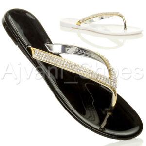 Damen Flach Goldbänder Strass Gummi Flipflops Sandalen Zehentrenner Größe 4 37 Q4x6d