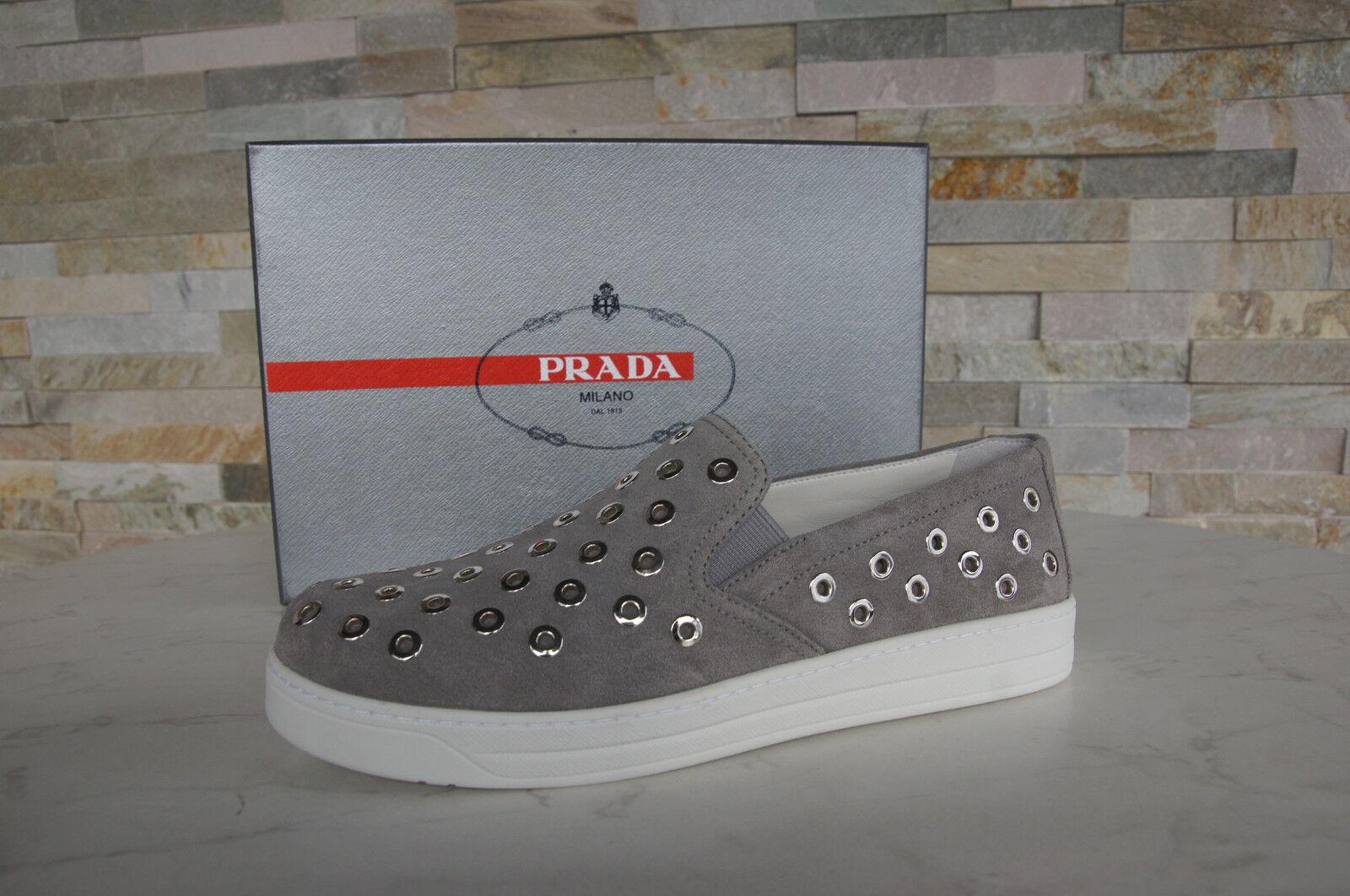 PRADA Gr 39 Slipper Sneakers Slip On Schuhe Suede 3S6159 grau NEU ehem