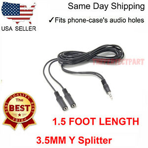 1.5FT 2 Female to 1 Male Gold Plated 3.5mm Audio Y Splitter Headphone Cable Foot