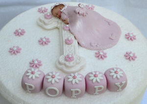 Details About Edible Personalised Baby Girl Christening Baptism Cake Topper Decoration