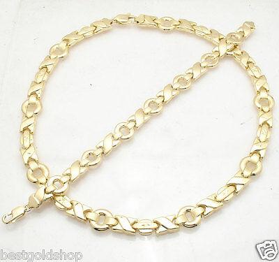"7.5/"" Hearts /& Kisses Bracelet 14K Yellow White Two-Tone Gold Clad Silver 925"