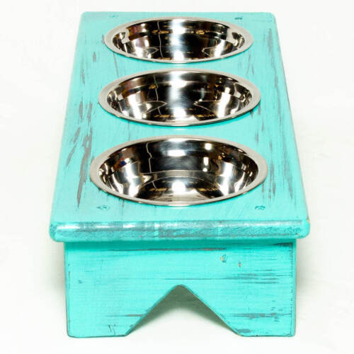 Dog Bowl and Cat Bowl Stand Wooden Same Size Bowls 3 Bowls