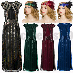 Vintage Style 1920s Flapper Dress Evening Gown Long Prom Dresses ...