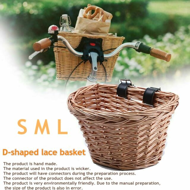Bicycle Front Basket Vintage Handwoven Wicker Bicycle Front Basket for Adults Kids Childrens Bikes Basket with Leather Straps Wicker Bike Basket