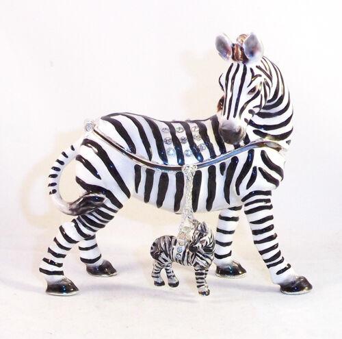 Savannah Zebra Trinket Jewelry Box Pewter Bejeweled Kingspoint