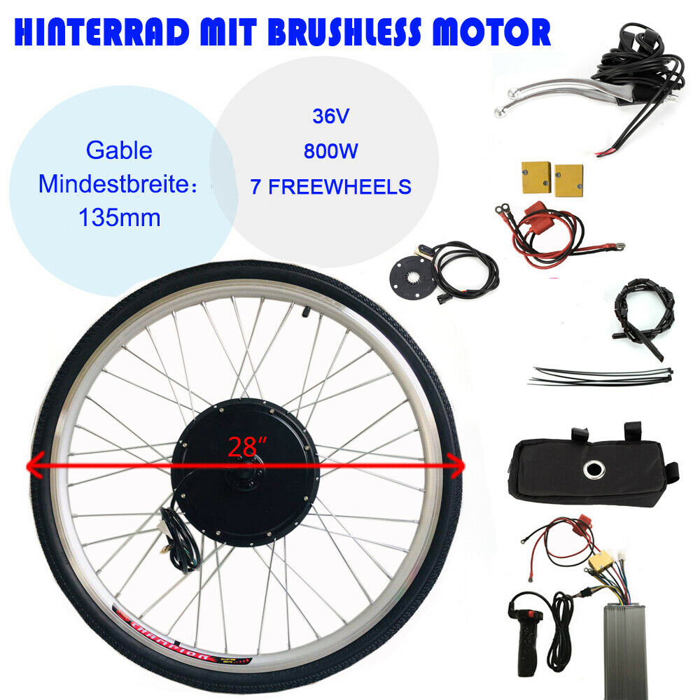 28  Hinterrad 800W 36V Elektro-Fahrrad Kit Ebike Elektrofahrrad Umbausatz Neu