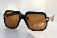 Tortoise Retro Square Hipster Rapper Sunglasses 80's Gold