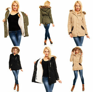 damen military jacke parka mit fell futter leder winter mantel fell kapuze ebay. Black Bedroom Furniture Sets. Home Design Ideas