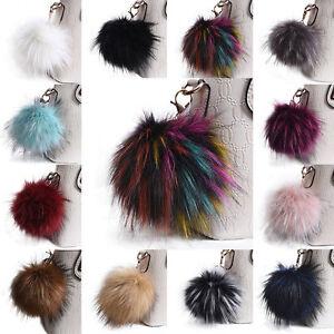 Fluffy-Grand-13cm-Faux-Fox-fourrure-PomPom-Ball-voiture-porte-cle-Porte-cles