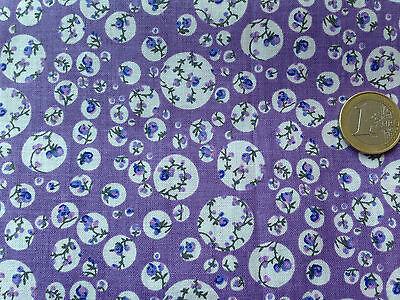 coupon de tissu  PUR coton FOND  blanc FLEURI MAUVE 3.00 m ; F 5
