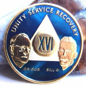 AA Blue Gold 16 Year Coin Tri-Plate Alcoholics Anonymous Medallion Sobriety
