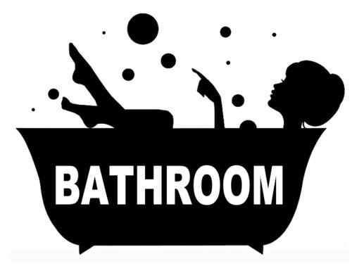 вырез виниловая наклейка ванная комната дверь//ЗЕРКАЛО//стены//ванная комната Маленькая 7 х 5.5 дюймов примерно 13.97 см