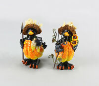 Youngs Fall Decor - Harvest Thanksgiving Boy & Girl Crow 86048