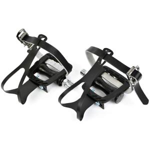 CLASSIC CHROME STEEL MEDIUM Toe Clips /& Black Leather Straps Track Road Bike