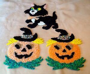 Vintage Melted Plastic Popcorn Halloween Cat & Pumpkins Set Of (3)