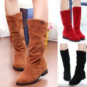 ef1efa05c79b Women Winter Riding Boots Round Toe Mid-calf Boots Slouch Fur Low ...