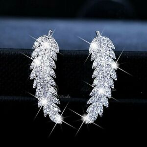 Vintage-Women-925-Silver-White-Topaz-Leaf-Ear-Hook-Dangle-Drop-Earrings-Gift