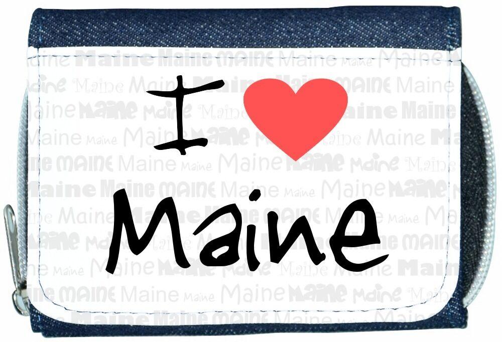I Love Heart Maine Denim Wallet