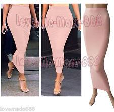 Womens Plain Tight Fit Casual Club Tube bodycon Maxi LONG Tunic Skirts Dress 4XL
