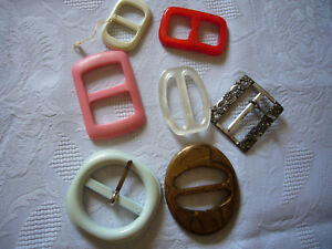 7 Pièce Ancienne Boucles De Ceinture Plastique + Métal-n Kunststoff + Metall Fr-fr Afficher Le Titre D'origine