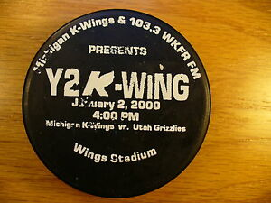 IHL Kalamazoo Wings Y2K-Wings 2000 vs Grizzlies Hockey Puck Check My Other Pucks