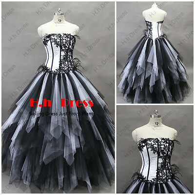 Gothic Black WhiteTulle Quinceanera Wedding Dress PageantProm Ball Bridal Gowns