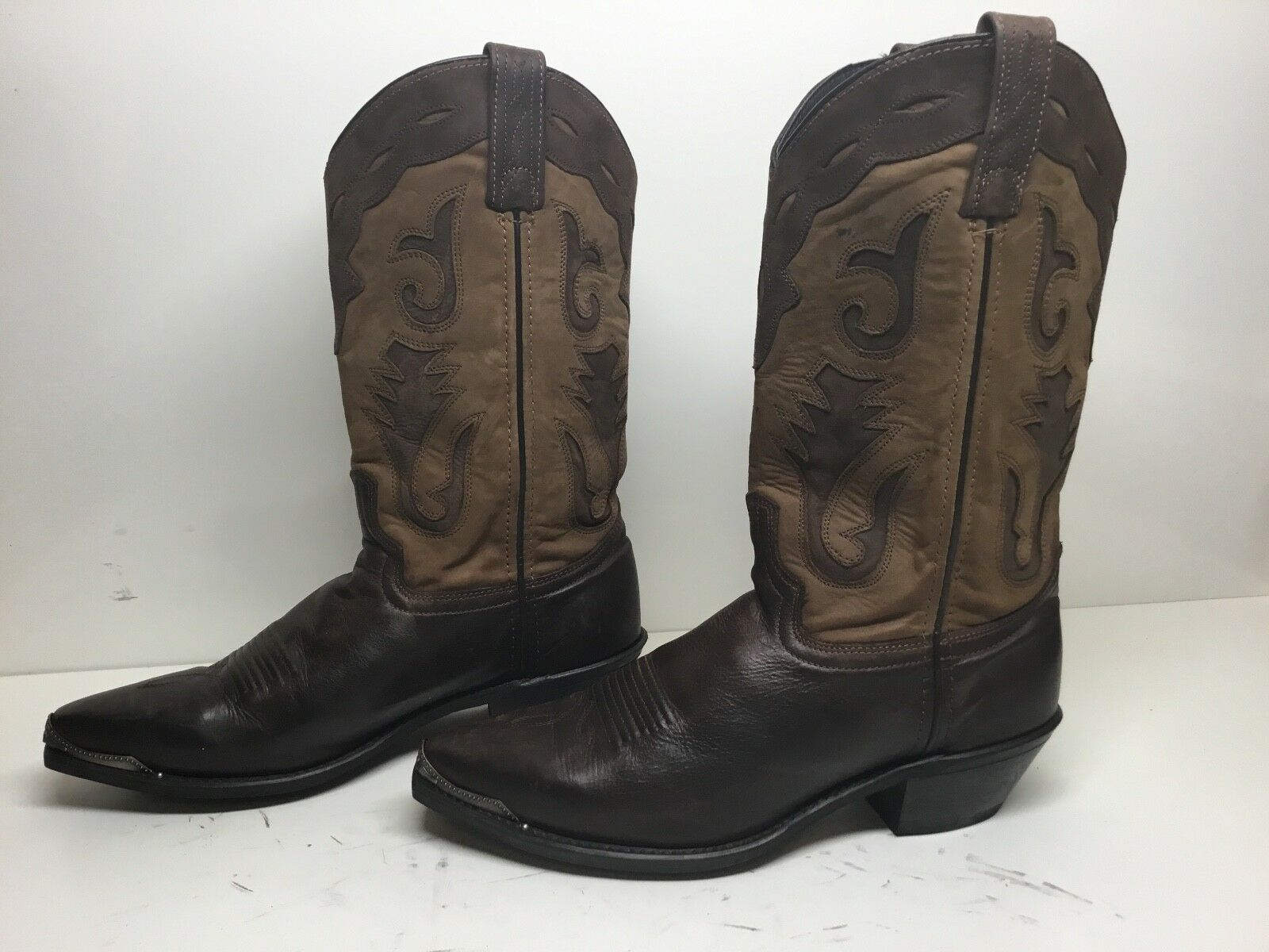 VTG COWBOY MENS UNBRANDED TOE RAND COWBOY VTG LEATHER BROWN BOOT SIZE 8.5 D 613826