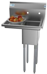 1-Compartment-Stainless-Steel-Commercial-Kitchen-Prep-Utility-Sink-W-Drainboard