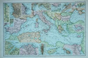 1900 Landkarte Mittelmeer Sea Alexandria Türkei Italy Algier Marseille Barcelona