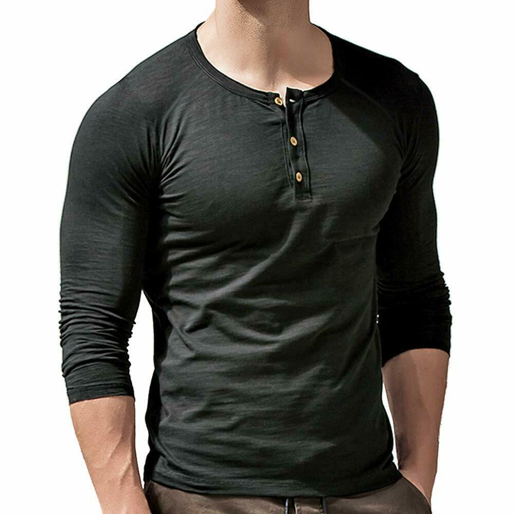 Muscle Alive Mens Summer Casual Short Sleeve Henleys T-Shirt Single Button Placket Plain v Neck Shirts
