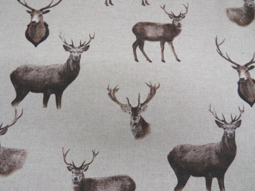 "55/"" wide Curtain Cotton Material Christmas Moose Elk Stag Head Deer Fabric"
