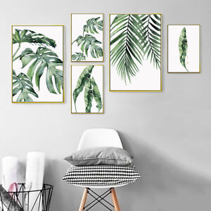 KF-Modern-Tropical-Plant-Leaves-Canvas-Painting-Wall-Living-Room-Home-Decor-A