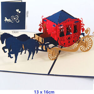 3D-Pop-Up-Greeting-Card-Anniversary-Valentine-039-s-Day-Wedding-carriage-Blue