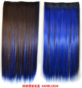 Image Is Loading Dark Brown Blue Highlights Mix Long Straight Clip