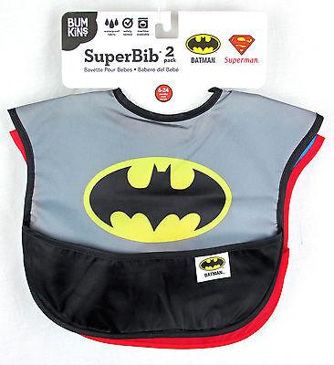 Super Baby Bib 2-Pack Batman /& Superman 6-24 Mths Catch Pocket Adjustable BNWT