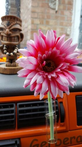 VW Car Vent Vase and hot pink Gerbera Flower Car Beetle T2 T25 T4 T5  Van