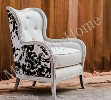 Contemporary COW HIDE PRINT Black White ARM CHAIR White Linen Tufted Wood