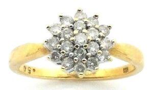 Ladies-womens-18ct-18carat-yellow-gold-diamond-cluster-ring-UK-size-O